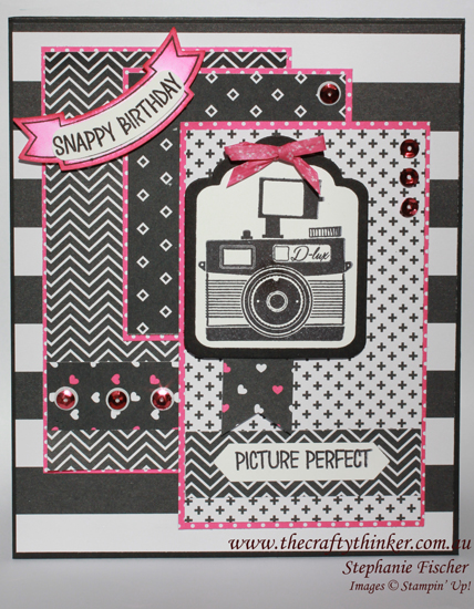 Stampin up, Pun Intended, Washi tape bows, Hostess set, sneak peek, Camera image, black and pink