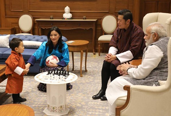 King Khesar Namgyal Wangchuck, Queen Jetsun Pema and Prince Jigme Namgyel Wangchuck visit New Delhi