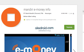 Aplikasi Mandiri e-money info di Google Play Store
