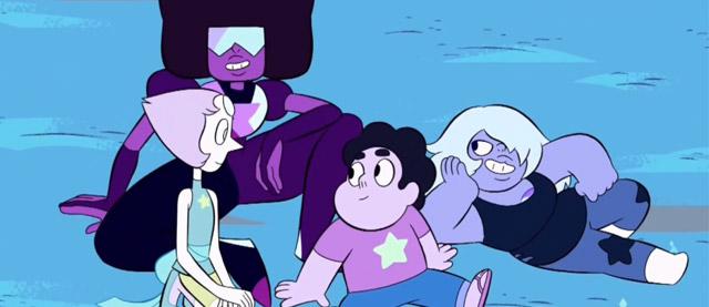 Imagem da abertura de Steven Universe- Garnet, Perola, Steven e Ametista