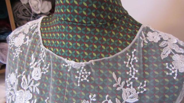 Lace overlay bodice handmade wedding dress