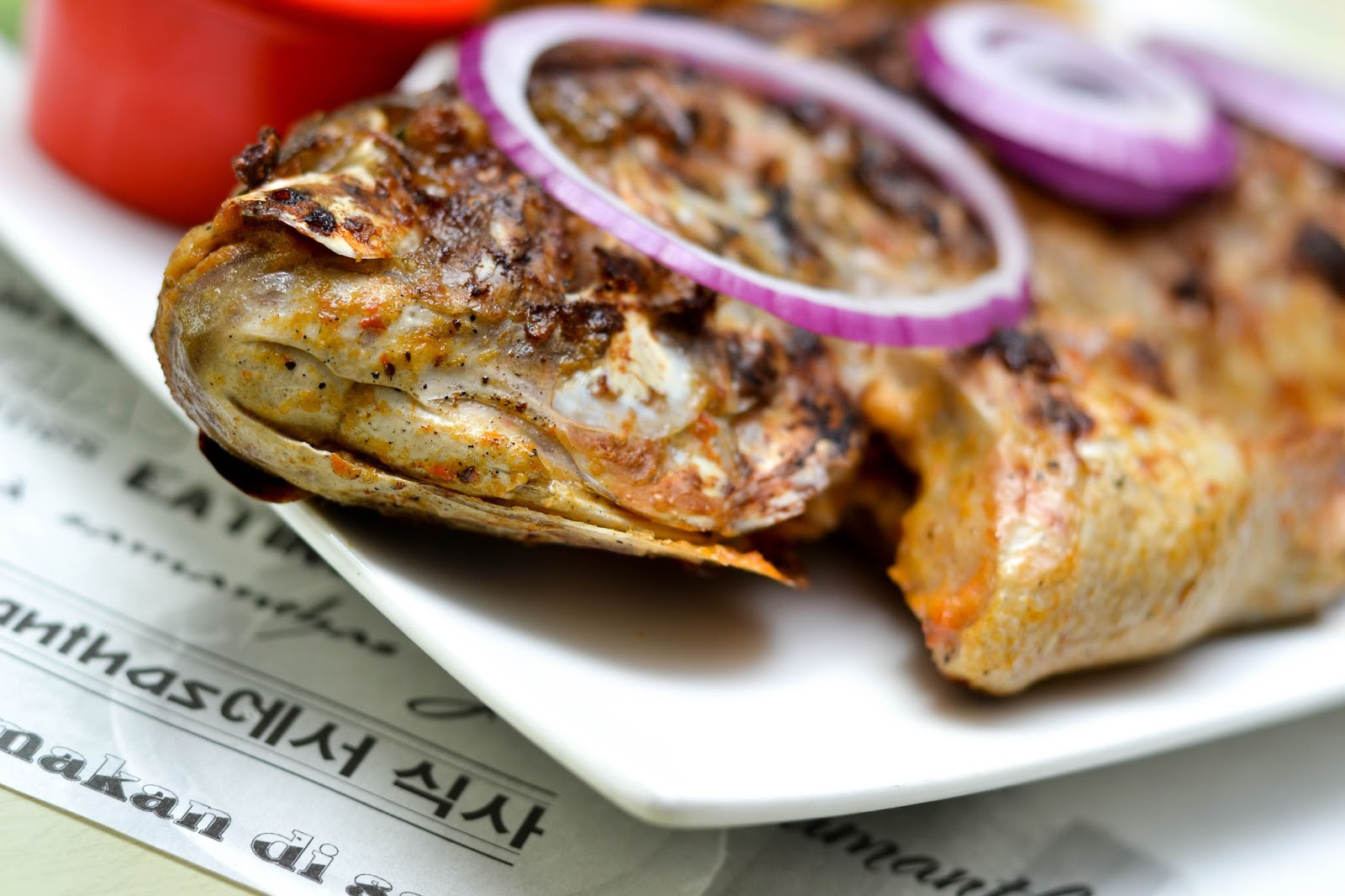 Under view of Grilled Pepper Tilapia Fish