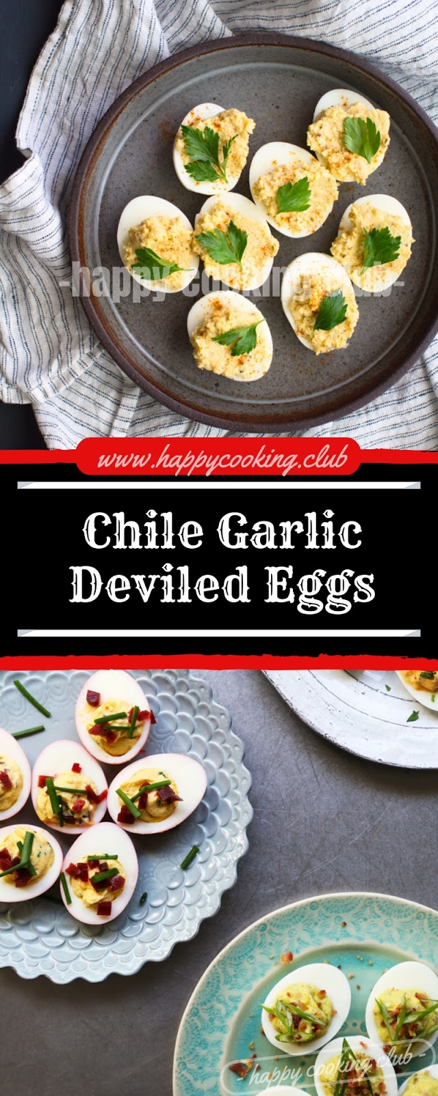 Chile Garlic Deviled Eggs