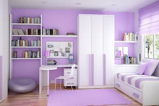 desain kamar anak minimalis modern perempuan ungu