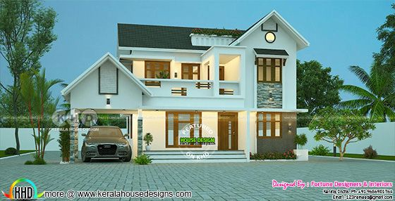 2400 sq-ft 4 bedroom modern mixed roof home