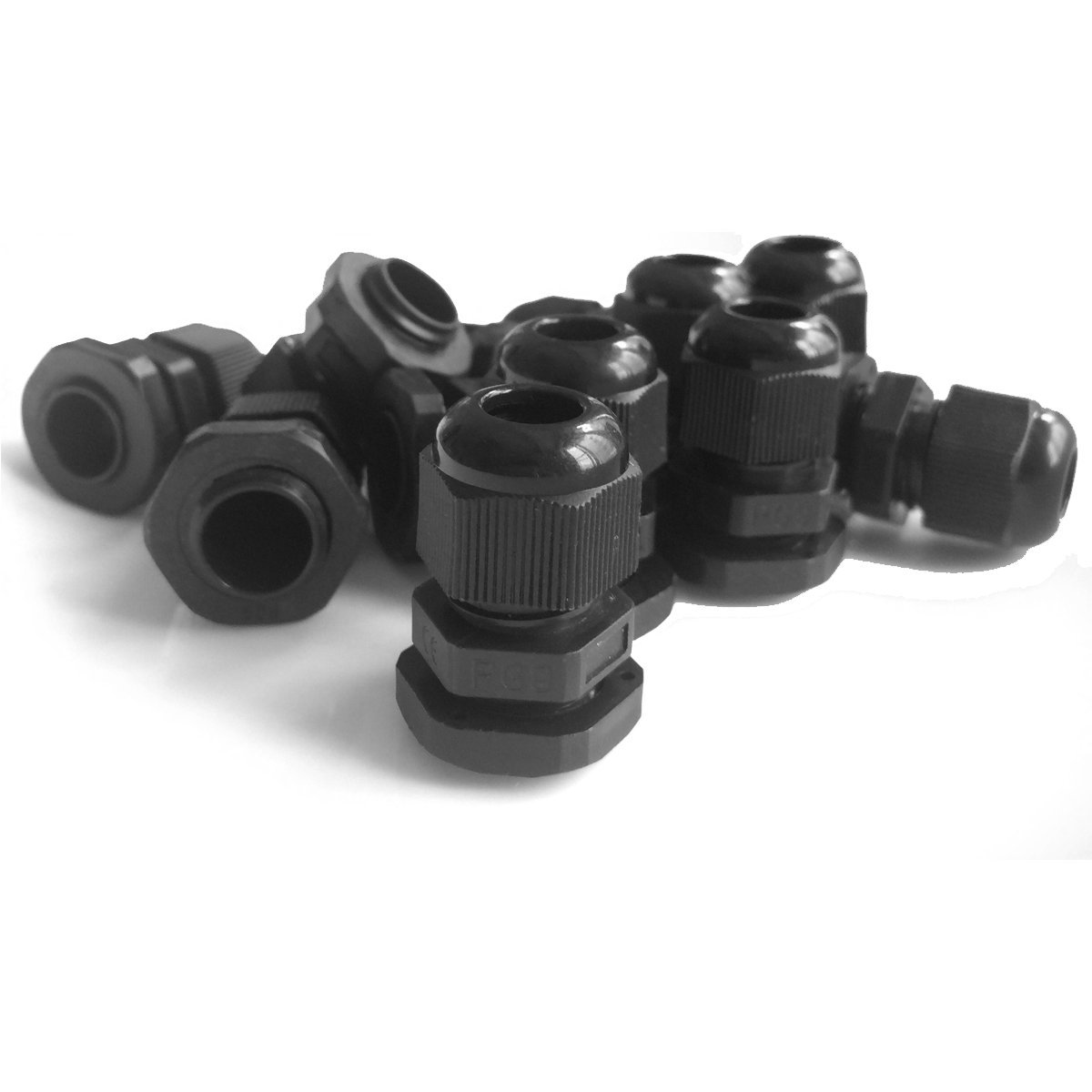 20 Pieces Black Plastic Nylon Waterproof Wire Glands Connector Fitting Lantee PG 9 Cable Gland