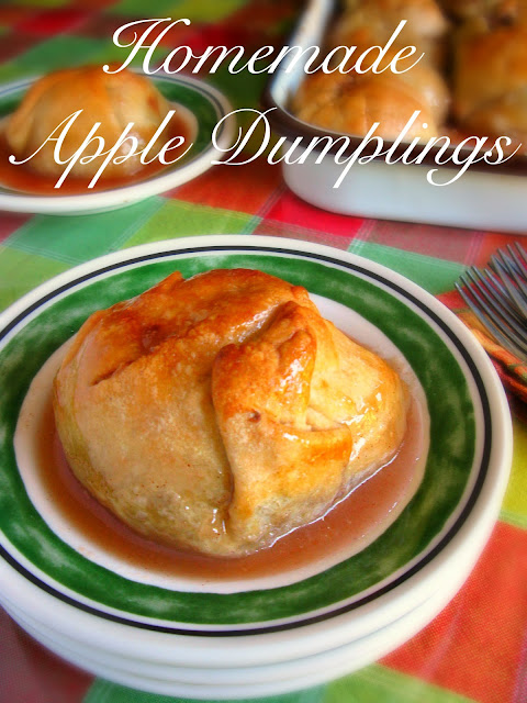 Apple Dumplings peeled and cored apples filled with cinnamon sugar mixture then wrapped in a buttery flaky pie crust and ladled with a warm syrup mixture of butter, sugar, and water.  They are perfectly cooked, and you are in heaven!