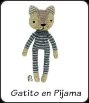 Gatito en pijama amigurumi