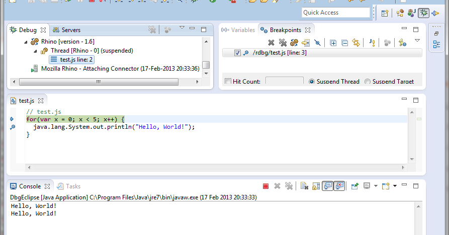JavaScript: debugging with embedded Rhino in Eclipse
