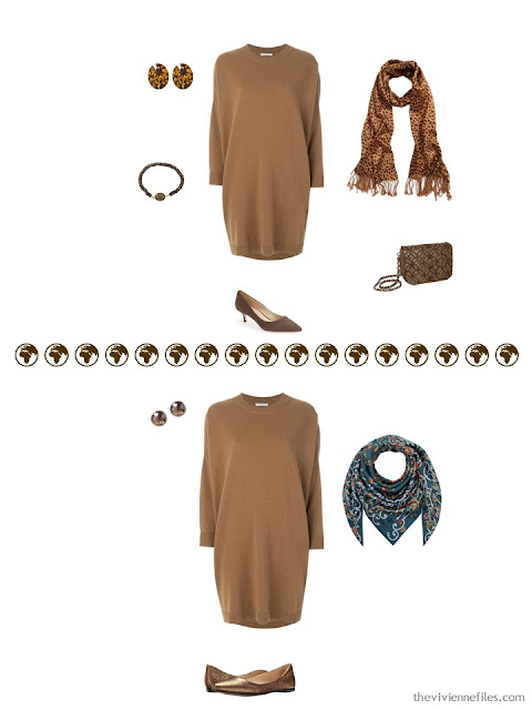 2 ways to wear a caramel knit dress from a 4 by 4 Wardrobe in browns, cream and teal