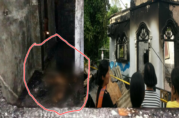 Jasad salah satu korban yang tewas terbakar.