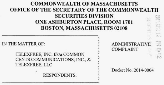 Securities Division of State of Massachusetts complaint against TelexFREE