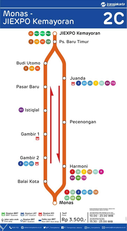 peta rute transjakarta monas - jiexpo kemayoran