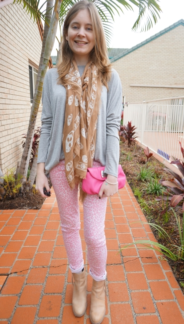Away From Blue Acne Pistol Boots pink leopard print jeans grey tee Skull scarf