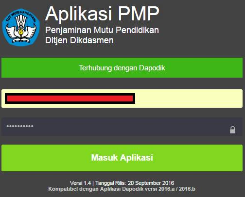 gambar login Aplikasi Penjaminan Mutu Pendidikan (PMP) 1.4