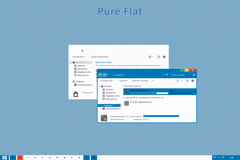 Theme Windows 7, Windows 8, Skin, Icon, Girl, Wallpaper: Pure Flat