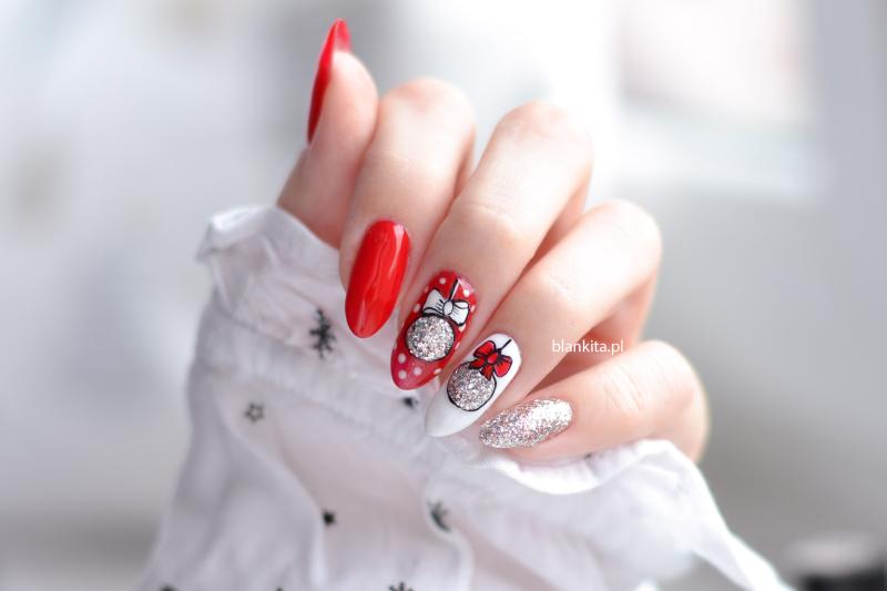 vasco nails, bombki na paznokciach, srebrny lakier hybrydowy, czerwony lakier hybrydowy