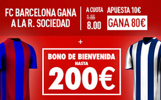 Supercuota Sportium Barcelona vs Real Sociedad + Bono 200€ codigo JRVM 26-1