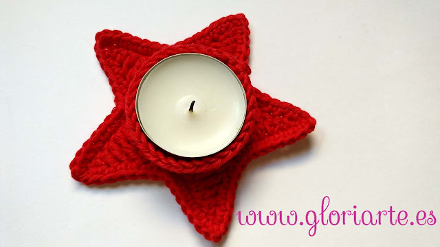 Estrella de ganchillo para velas de navidad