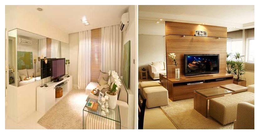Decorar Sala Pequena Com Espelhos ~ Construindo Minha Casa Clean Sala de Estar Pequena e Moderna