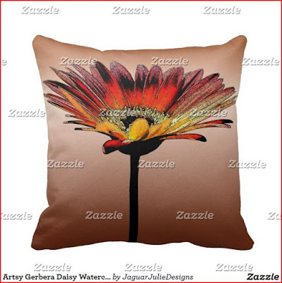 Artsy Gerbera Daisy Watercolor Throw Pillow with Zazzle Watermark