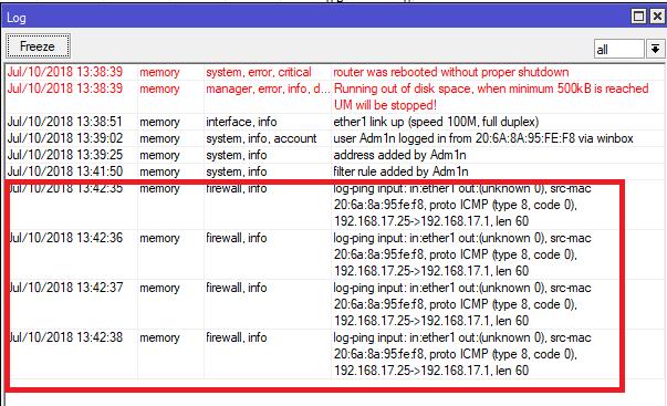 cek log melalui menu log di winbox mikrotik