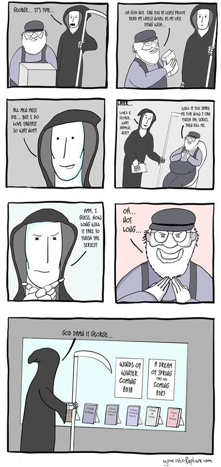 Meme de humor sobre George R. R. Martin