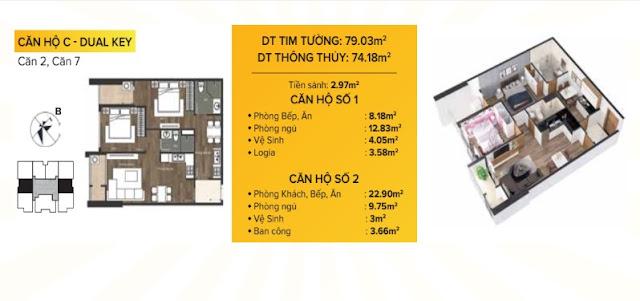 Mặt bằng căn hộ C DUAL KEY Chung Cư The Sun