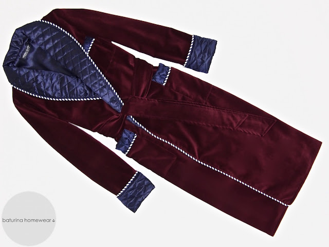 Mens red velvet dressing gown long warm quilted silk robe burgundy smoking jacket