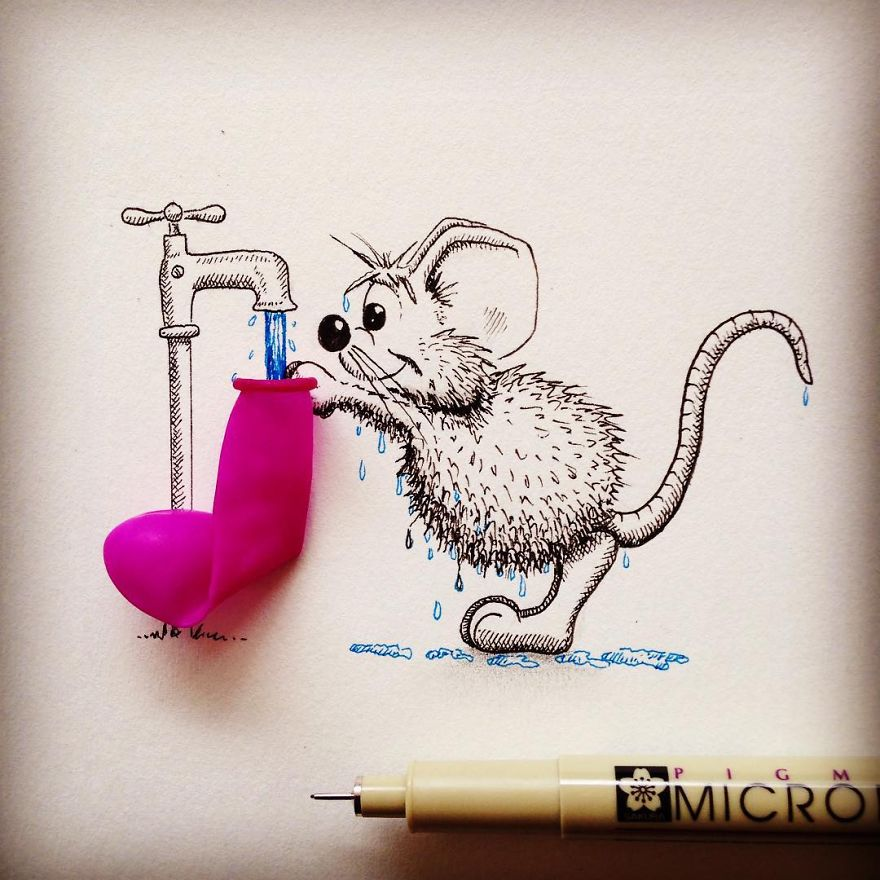 22-Balloon-Fight-Loïc-Apreda-apredart-Drawings-of-Rikiki-the-Mouse-and-his-Famous-Friends-www-designstack-co