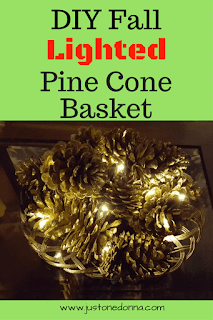DIY Fall Illuminated Pine Cone Basket