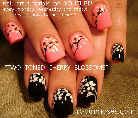 Mint Cherry Blossom Nail Art Design Tutorial