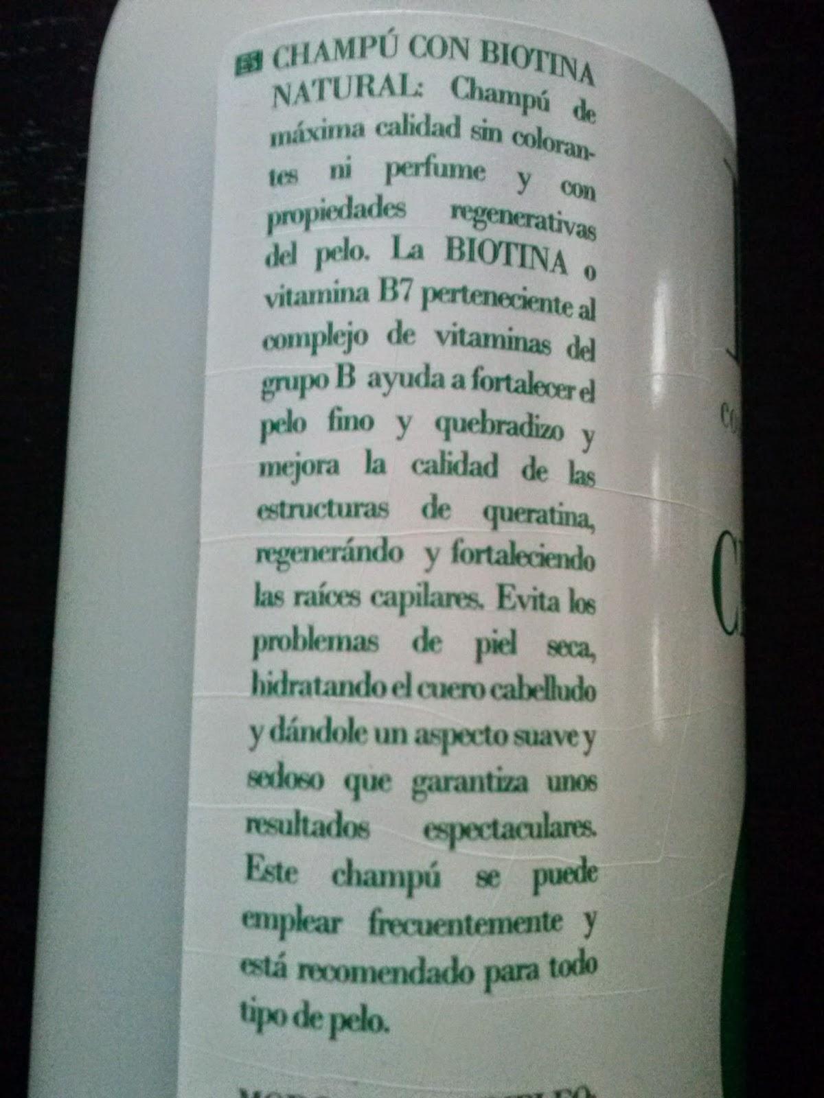 Etiqueta champú de biotina Mercadona