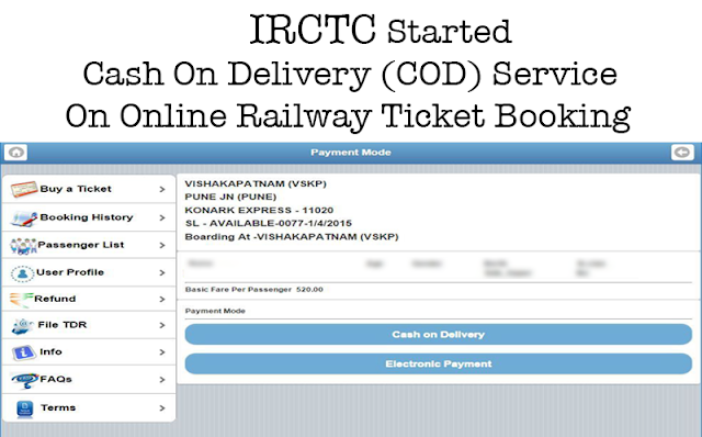 IRCTC Started Cash On Delivery (COD) Service On Online Railway Ticket Booking/Reservation – bookmytrain