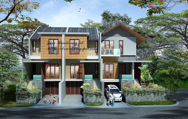 Rendering 3D Rumah 2 Lantai