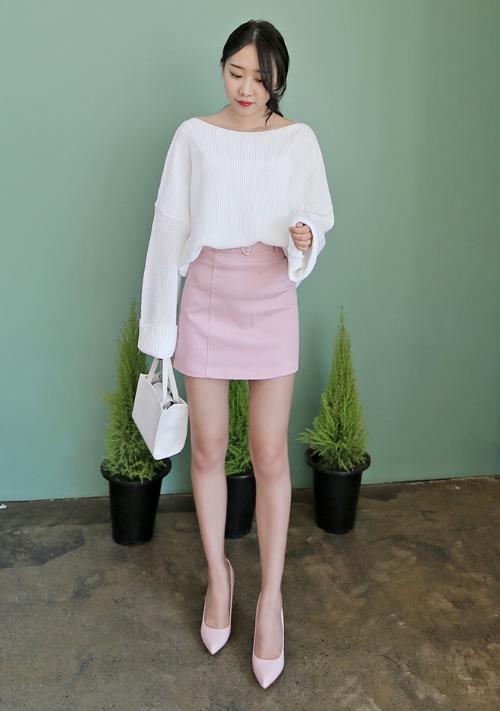 Basic Ring Buckle Belted Mini Skirt