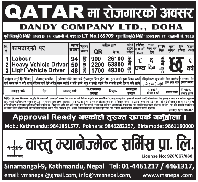 Jobs in Qatar for Nepali, Salary Rs 63,800