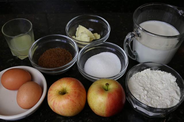 Ingredientes para filloas rellenas de manzana caramelizada