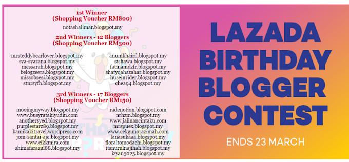 Lazada Birthday Blogger Contest - Winners List