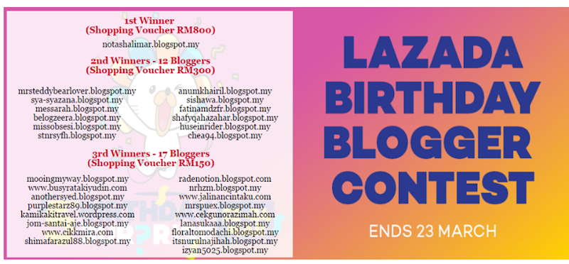 Lazada Birthday Blogger Contest - Winners List