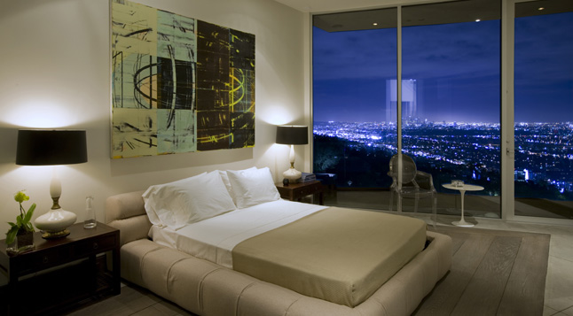 Photo of contemporary bedroom with Los Angeles views