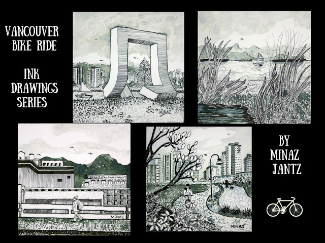 Vancouver Bike Ride Ink Drawings Series by Minaz Jantz