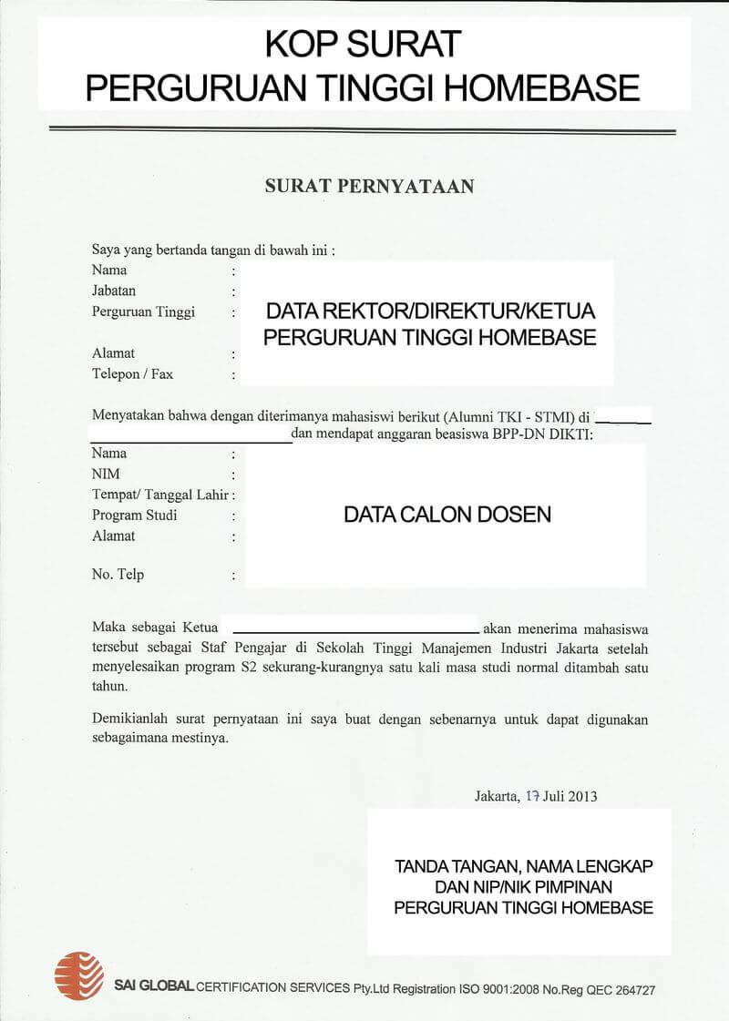 surat pernyataan tidak sedang menerima beasiswa dari sumber lain bppdn