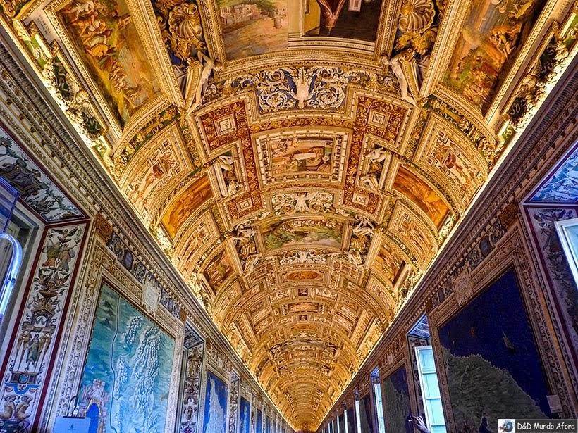 Galeria dos mapas no Museu do Vaticano - Diário de Bordo: 3 dias em Roma