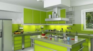 Green Kitchen Set Design Model