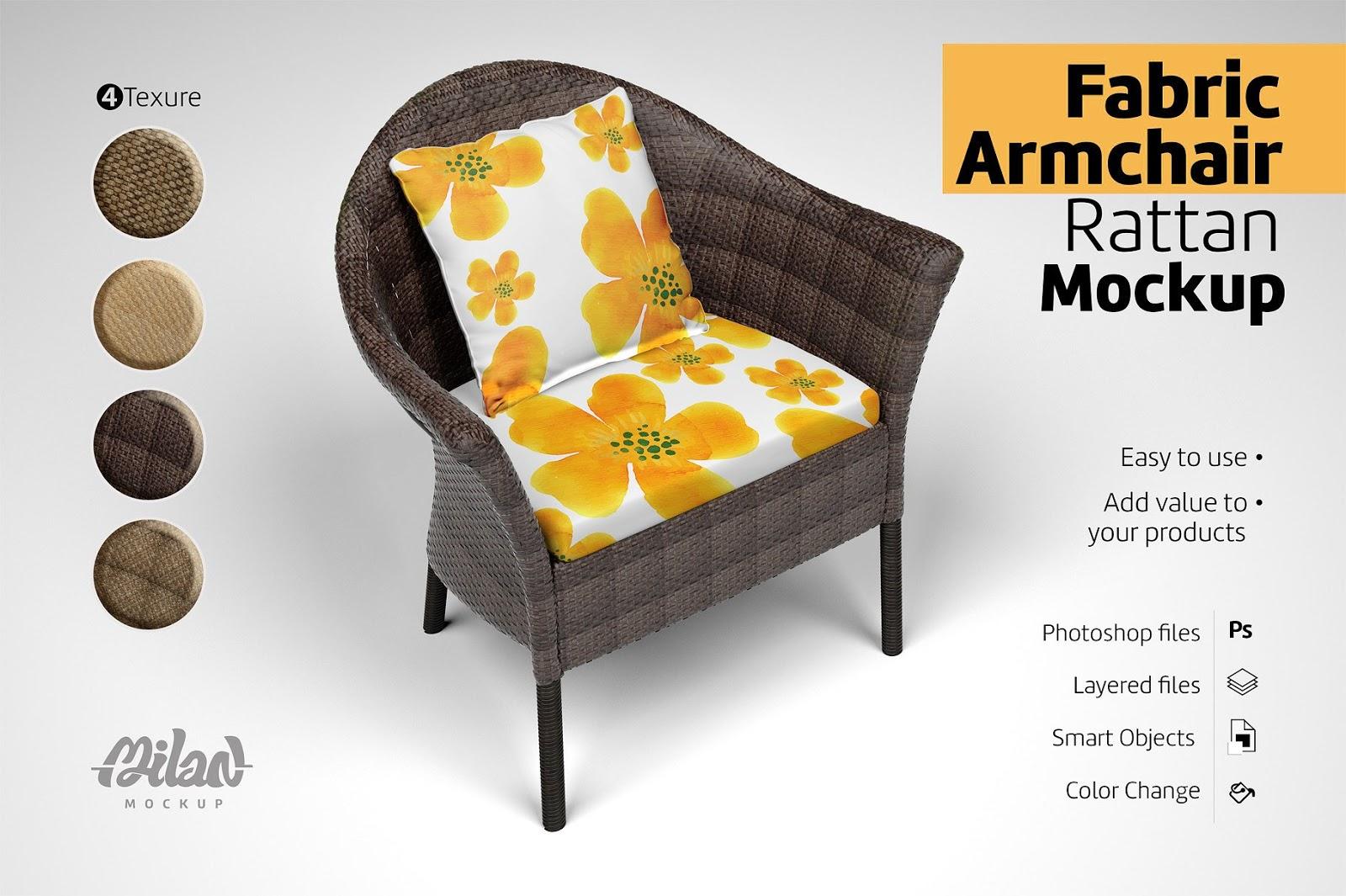 Fabric Armchair Rattan Mockup