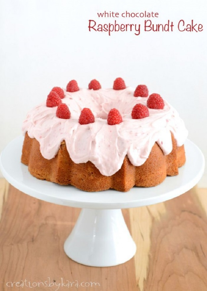 White Chocolate Raspberry Bundt Cake