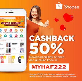 Kode Voucher Shopee Cashback 50% Tanpa Minimal Pembelian Terbaru 2018