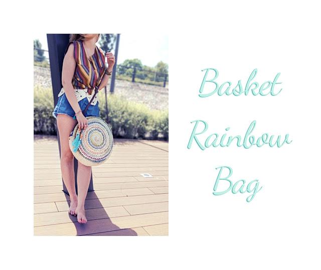 okrągła torba, koszyk, tęcza, boho, handmade