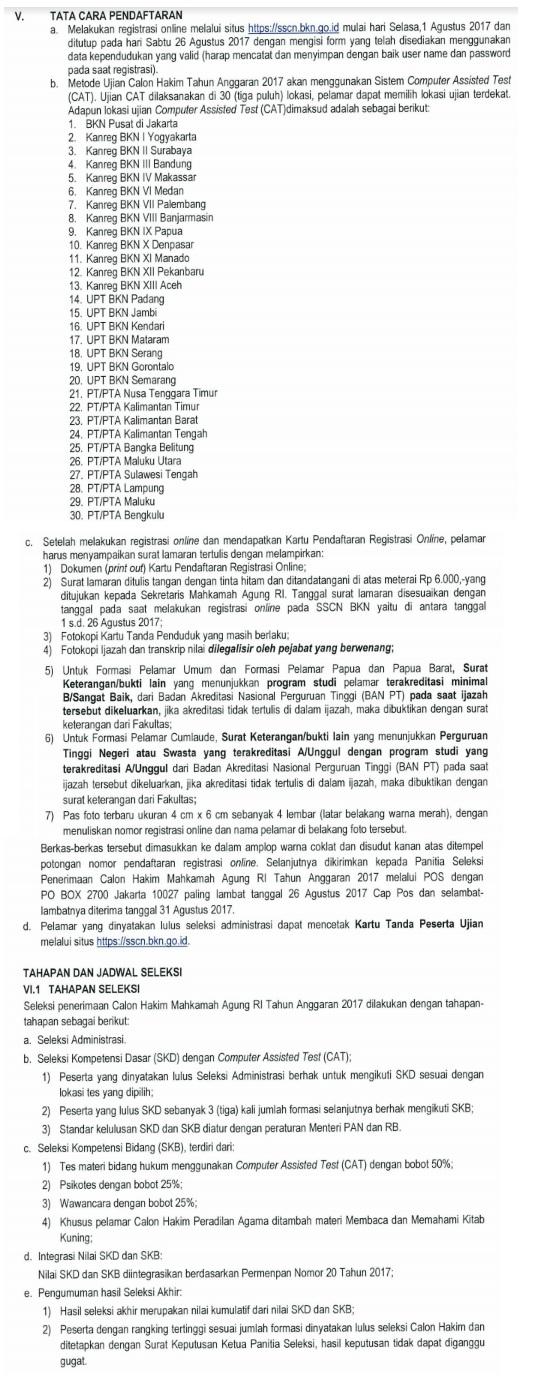 Pendaftaran CPNS Mahkamah Agung Tahun 2017